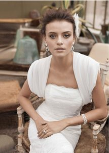 David's Bridal Cream/White Contemporary Bolero