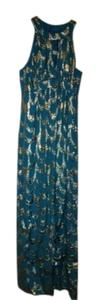 Trina Turk Embellished Long Gown With Metallic Accents. Maxi Dress