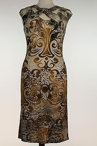 Mesmerize short dress Multi-Color Womens Beige Printed Sleeveless Polyester Blend Shift on Tradesy