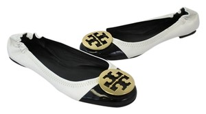 Tory Burch Two-tone Leather Patent Leather Gold Hardware Monogram White/Black Flats
