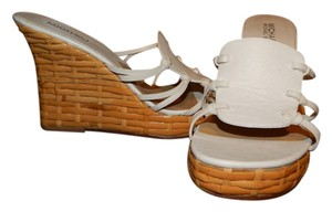 Michael Kors Basket Weave Leather White Sandals