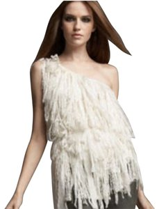 Alice + Olivia Fringe Chinffon Layered Lace Top White