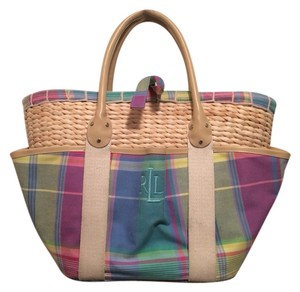 Ralph Lauren Tote in Pastel Pink Blue Yellow