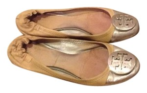 Tory Burch Silver And Nude Flats