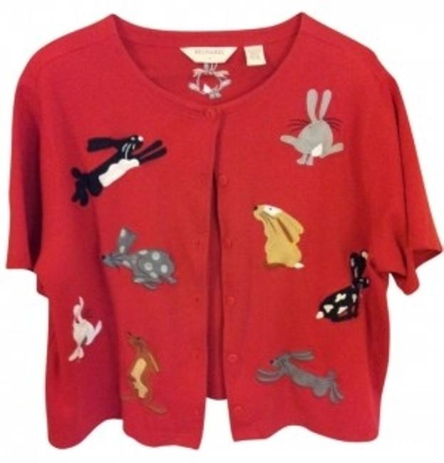 Item - Red Short Sleeved with Rabbit Appliques Blouse Size 22 (Plus 2x)