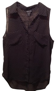 Wet Seal Button Down Shirt Black Polka-Dot