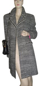 Tweed jacket black and gray, tweed frayed edges