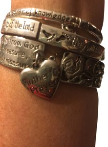 (Three) words of advice stretch silver bracelets.