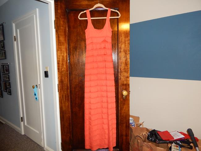 Orange Maxi Dress by Max Studio Tiered V-neck