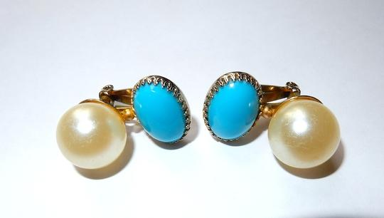Scaasi Scaasi Vintage Large Pearl Turquoise glass cabochon Earrings