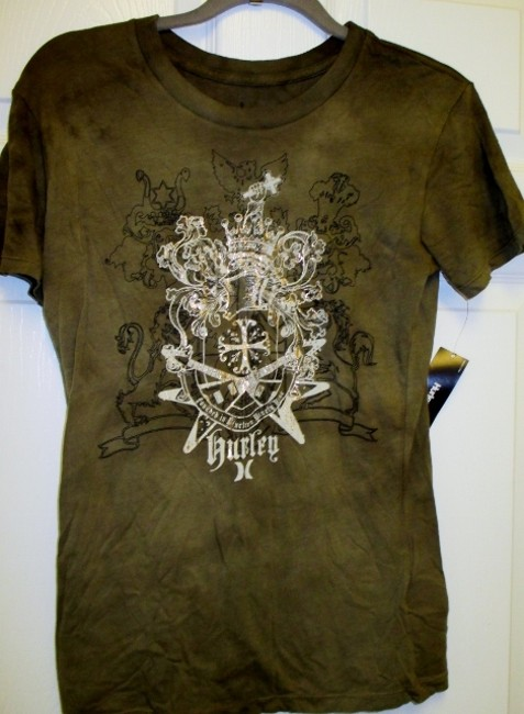 Hurley Juniors Large Lightweight Fitted T Shirt Army Green