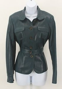 Worth Worth Teal Super Soft Smooth Lambskin Leather Belted Blazer Lb