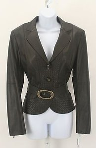 Worth Worth Bison 14c87 Soft Leather Woven Peplum Belted Blazer Lb