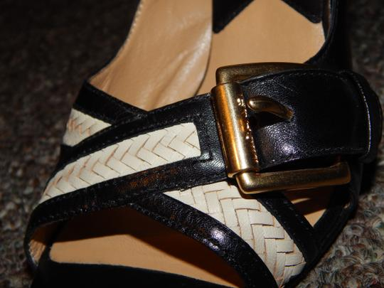 Michael by Michael Kors Leather Peep Toe Buckles Black and White Pumps