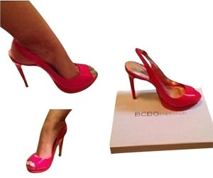 BCBGeneration Peep Toe Heels 9.5 Red Patent Leather Pumps