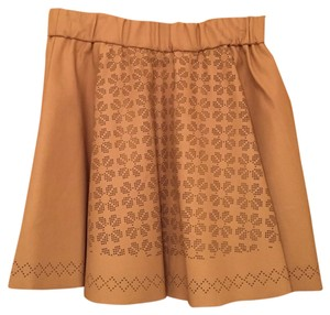 Club Monaco Faux Leather Mini Skirt Tan
