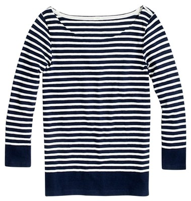 J Crew Boatneck Striped T Shirt Navy And White 48 Off