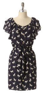 Anthropologie short dress Navy, White Andalusian Navy Silk on Tradesy