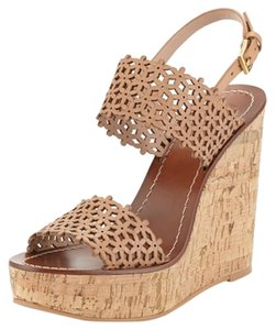 "Tory Burch Cork Heel 5"" (125mm) Platform 1.25"" (30mm) Compares To A 3.75"" Heel (95mm) Leather Upper Adjustable Ankle Strap Leather Beige Wedges"