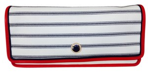 Coach Navy Red Stripe Clutch