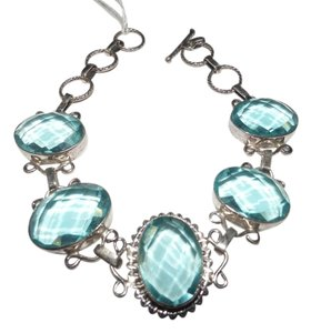 Other Swiss Blue Topaz, .925 Sterling Silver Bracelet