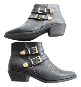 Forever 21 21 Chloe Studded Black, Gold Boots
