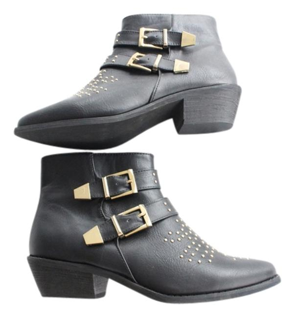 Item - Black Gold Vegan Leather Studded Ankle Boots/Booties Size US 9 Regular (M, B)