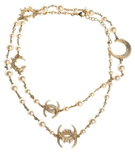 Chanel CHANEL Crystal Pearl CC Long Necklace Gold