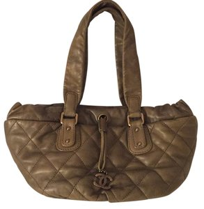 Chanel Vintage Leather Tote in Brown/Khaki