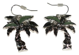 Abalone with Silver Finish Palm Tree Earrings