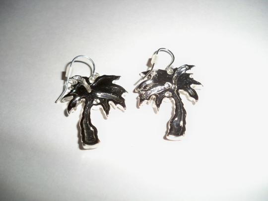 Other Abalone with Silver Finish Palm Tree Earrings