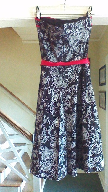 Macy's short dress Black and Red Strapless on Tradesy