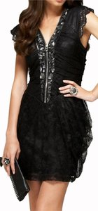 bebe Embellished Lace Jeweled Dress