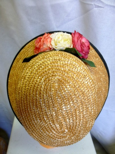 Bloomingdale's Straw hat with floral accents