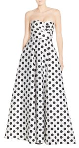Adrianna Papell Strapless Polka Dot Satin Twill Gown Dress