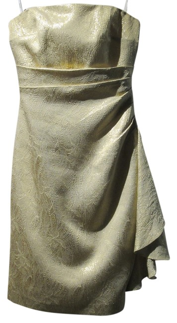 Preload https://img-static.tradesy.com/item/11553421/kay-unger-metallic-gold-strapless-brocade-ruched-short-cocktail-dress-size-4-s-0-1-650-650.jpg