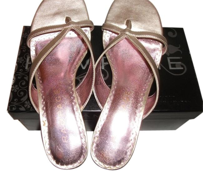 """Item - Goldtone/Pink Box With Scalloped Insole 1/2m 2""""Heel With Sandals Size US 6.5 Regular (M, B)"""