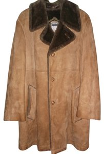 MIGHTY MAC / MADE IN USA Mens Leather Suede Shearling Coat