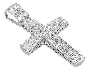 White Gold Finish Dome Cross Inch Rows Pave Diamond Pendant Charm 0.50ct.