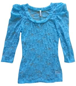 Cefian Shirt Lace Lace Trim Small Size Small Size 4 Size 6 4 6 3/4 Sleeves Three Quarter Sleeves Longsleeve Long-sleeve Long Top Lagoon Blue