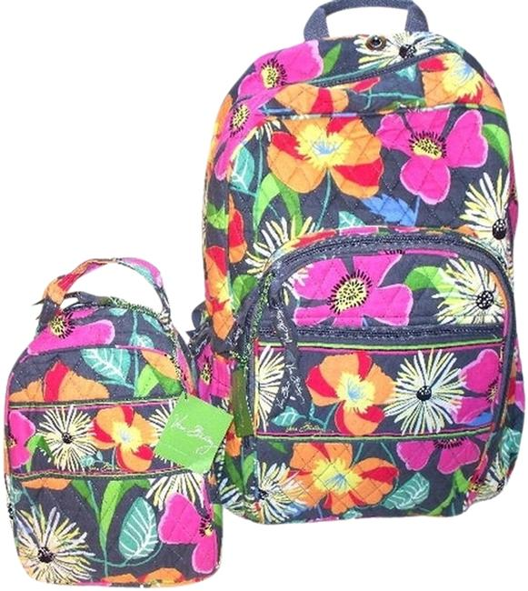Item - Lunch Campus College Jazzy Blooms Pink Orange Gray Cotton Backpack