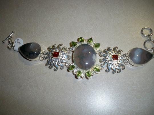 Other Beautiful Agate, Orange Quartz, Peridot Silver Bracelet