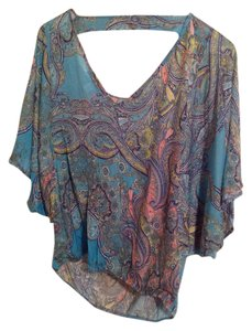 Weston Wear Paisley Top Blue Multi-Color