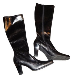 Franco Sarto Square Toe Midcalf Zipped Black Boots