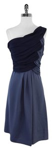 Abaete Periwinkle Navy Silk One Shoulder One Shoulder Dress