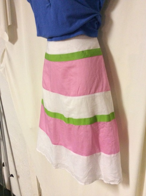 London Jean Skirt White Pink Green