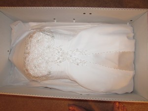 David's Bridal A-line With Chiffon Split Front Overlay Style #7v9010 Wedding Dress