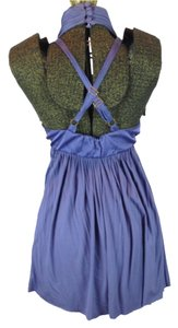 LaROK Halter Crossback Empire Waist Tunic Top Blue