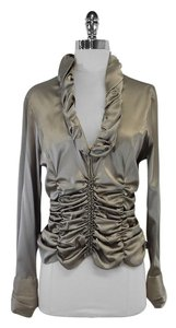 Giorgio Armani Zip Up Gathered Silk Top