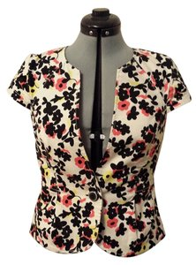 Anthropologie Crop Workplace Casual Black & White Graphics w/ Abstract Floral Blazer